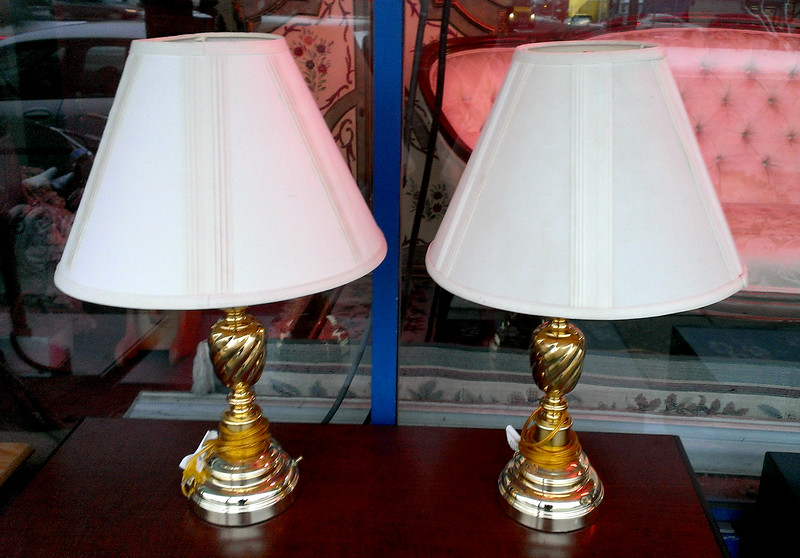 Set of 2 Contemporary Bright Gold Table Lamps with Shade.  18 x 27.  <b>$25 each or two for $40</b>