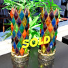 Set of 2 Unique Multi-Color Retro Glass Table lamps.  5 x 14 1/2.  <b>$125 for the set.</b>