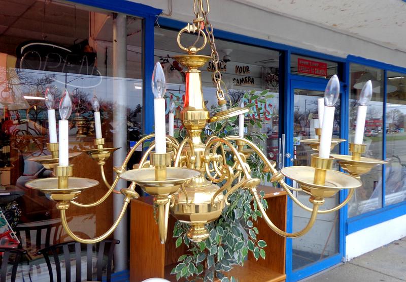 Large Vintage Brass Chandelier.  48 x 30.  <b>$625</b>