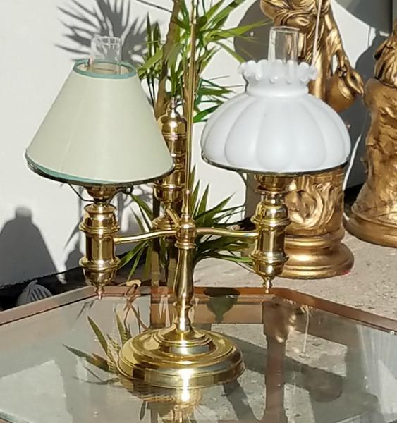 Unique Brass Double Hurricane Table Lamp.  26 x 15 x 29.  <b>$55</b>
