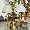 Unique Brass Double Hurricane Table Lamp.  26 x 15 x 29.  <b>$55</b>