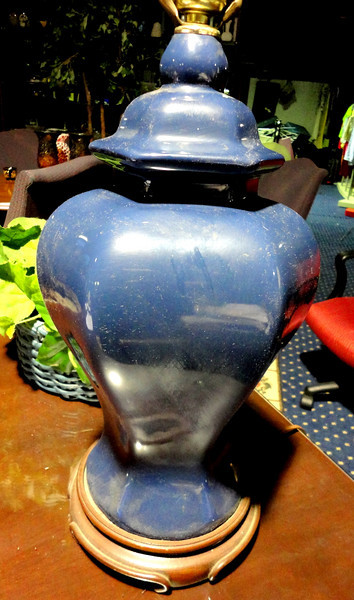 "Blue Ceramic Lamp with Wood Base Bezel.  24"" <b>$35</b>"