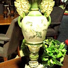 "Ornate Antiqued Brass Handled Lamp - Green with Painted Flower Accents on Solid Base. 37""  <b>$65</b>"