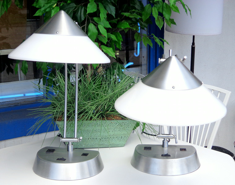 Contemporary Adjustable Brushed Metal Table Lamps with Convenient Built-In AC Portable Device Recharge Plug.  <b>$25 each.</b>