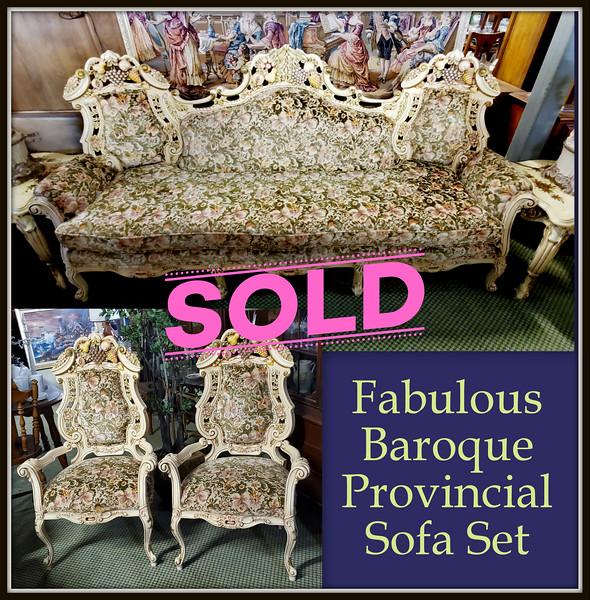 Provincial 3-Piece Sofa and Sofa Chairs Set