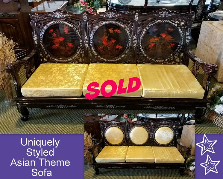 Transitional Asian Theme Sofa