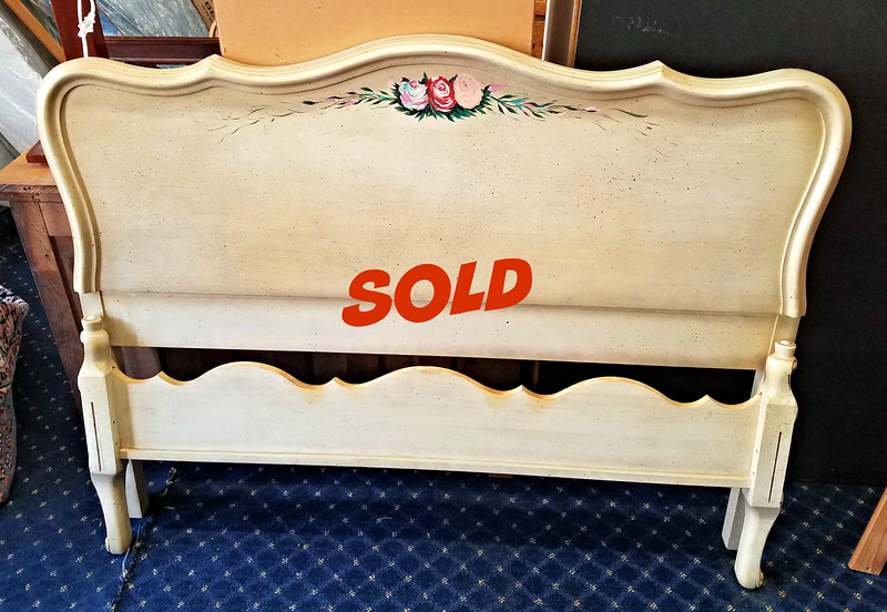 Unique Hand-Painted Full Size Platform Bed.  Includes side rails and slats (not shown).  Headboard: 59 x 45.  <b>$125</b>