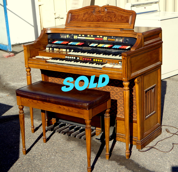 Vintage <i>Hammond</i> Organ and Bench Featuring Animation by Leslie.  <b>$250</b>