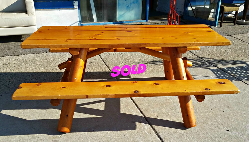 Golden Oak Log Picnic Table