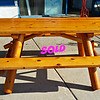 Golden Oak Log Picnic Table