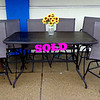 Attractive Cafe Height Table & 6 Chairs Set.  Table: 64 x 40 x 38.  Chairs: 23 x 30 x 26 x 48.  <b></b>