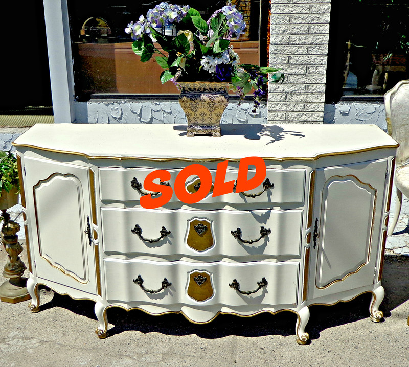 French Provincial Frost White and Gold Server Buffet. 69 x 22 x 36.