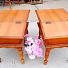 Set of 2 Uniquely Styled Solid Wood End Tables with Slant Top Storage Area.  19 x 28 x 23.  <b>$125 </b>