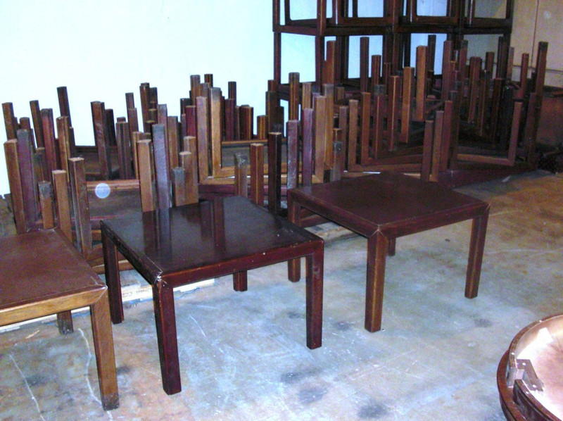 <b>Available at our Livernois Store Location - (313) 345-0884. </b>  Super-Economical Dark Wood End Table Clearance -  Large collection of pre-owned 30 x 30 x 21 dark wood end tables. Perfect for budget conscious buyers or those furnishing a fixer-upper home for resale, you simply can't go wrong purchasing one or more of these units. With a little Old English Dark Polish, these babies will clean up real nice in no time. So, get one of these economical end tables here cheap.... REAL CHEAP PRICE.... <b>$15</b>