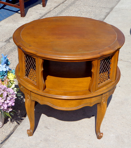 Vintage Double Deck Solid Wood End Table / Accent Table with Interlaced Metal Trim.  27 x 26.  <b>$95</b>