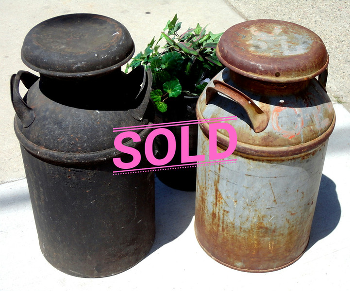 Vintage Metal Milk Containers.  <b>$65 each</b>