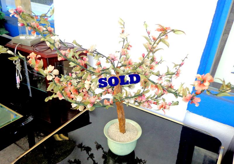 "Large 32"" Vintage Chinese Agate Jade Glass Flowering Bonsai Tree.  32 x 30.  <b>$95</b>"