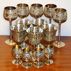 14 Piece Set Z.Y. India World Gift Silverplate on Brass Stem Wine Goblets Etched.