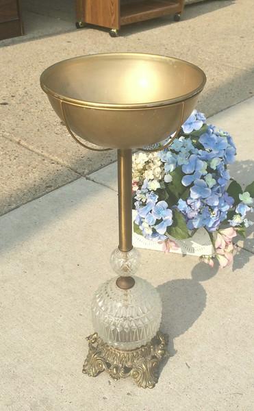 Unique Vintage Brass Pedestal Ashtray.  10 x 25.  <b>$75</b>