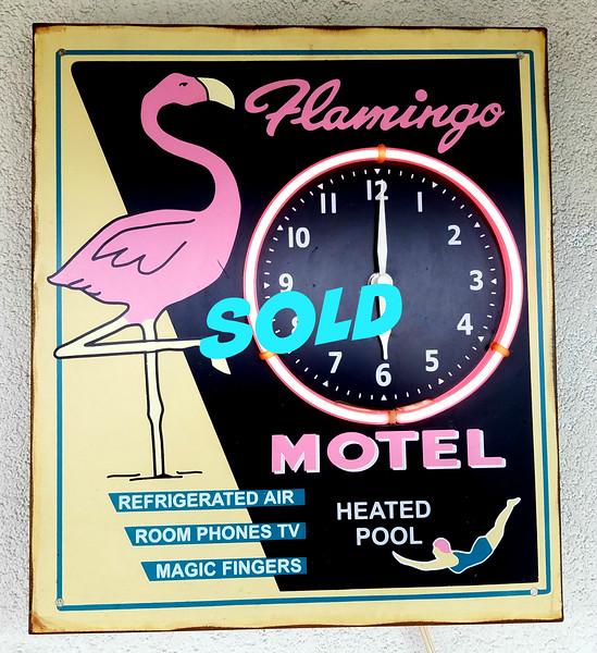 Flamingo Hotel Pink Neon Clock