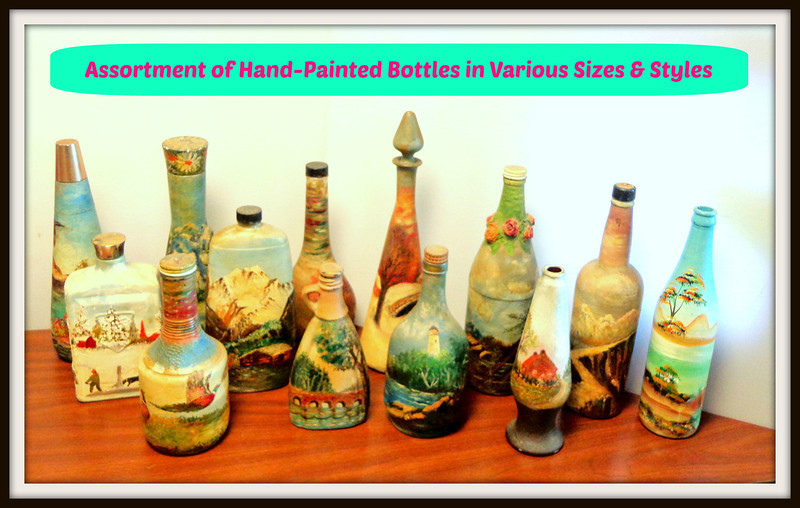 Assortment of Unique Hand Painted Bottles in Various Shapes & Sizes.  <b>Make A Fair Offer.</b>
