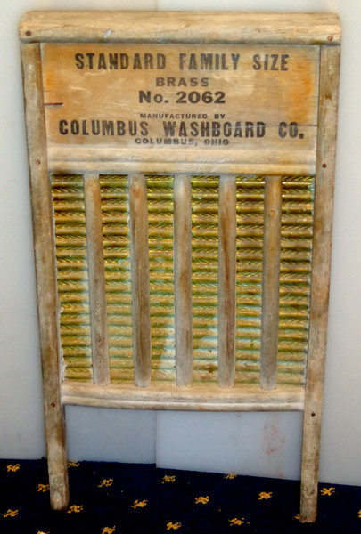 """Vintage """"Travel"""" Washboard Made by Columbus Washboard Co.  13 x 24.  <b>$20</b>"""