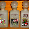 Set of 3 Hand Painted Kitsch Bar Jazz Age Frosted Glass Decanturs.  Whiskey, Scotch & Rye.  3 1/2 x 3 1/2 x 9.  <b>$50 for the set.</b>
