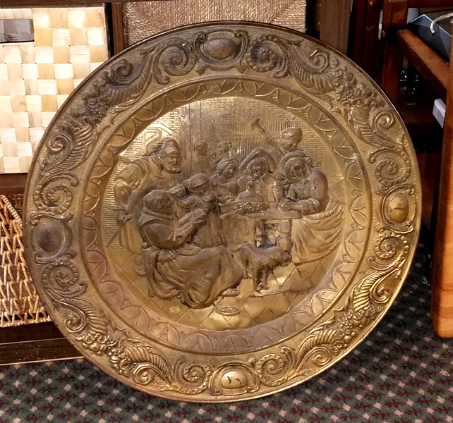 Large Ornamental Brass Hanging Plate
