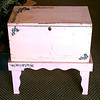 Vintage Solid Wood Toy Chest in Stand.  Chest has side handles.  26 x 16 x 26.  <b>$55</b>