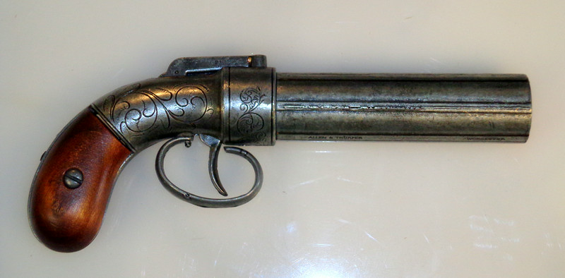 """Rare Antique Allen & Thurber Pepperbox Revolver.  Allen & Thurber Pepperbox Revolver. 32 caliber barrels are 4 ¼"""" long and are marked """"Allen & Thurber Worcester"""" on one rib and """"Patented 1857 cast-steel"""" on another rib. This pepperbox is the """"Baby Dragoon"""" model, having a frame size between the standard and dragoon models.   Made of cast steel.  <b>$850</b>"""