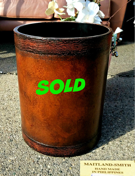 Maitland Smith Leather Waste Container
