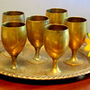 Vintage Brass & Silver Jewish Kiddish Cup Set with Serving Tray.  <b>$95</b>