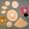 Assorted Ceramic Hats & Fans Wall Display.  <b>$95</b>