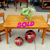 Unique Small Children's Tiger Oak Dining Room Set for 2.  Table: 36 x 23 x 20.  Chairs: 12 x 14 x 24.  <b>$225</b>