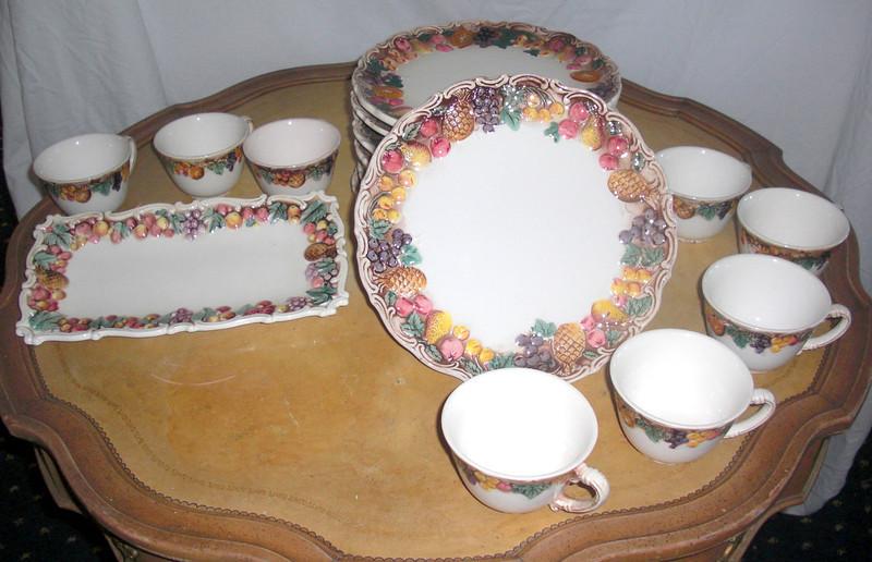 Vintage Elevated Fruit Pattern Crockery Set. <b>$95</b>
