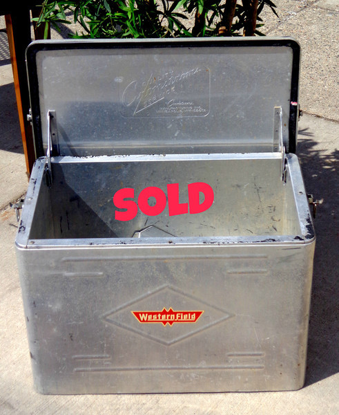 1950s Aluminum Cooler, Westernfield Brand, Insulated Ice Chest Cooler with Inside Divider - Vintage Travel Trailer Decor.  22 x 13 x 16.  <b>$65</b>