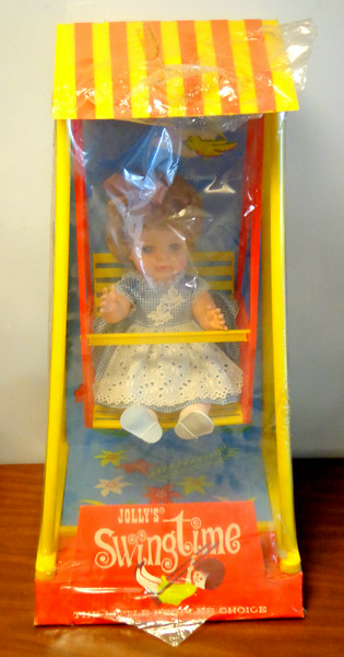 "NEW!!  Vintage Jolly's Swingtime Brand Baby Doll.  ""The Little People's Choice.""  13 x 15 x 27.  <b>$40</b>"