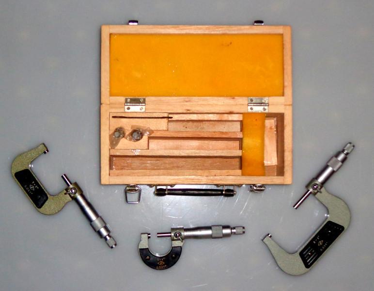 """Vintage 0 - 3"""" x 0.001 Micrometer Set in Solid Wood Case.  <b>$95</b>"""