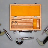 "Vintage 0 - 3"" x 0.001 Micrometer Set in Solid Wood Case.  <b>$95</b>"