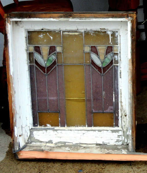 Stained Glass Exterior Window in Frame.  24 x 5 3/4 x 28.  <b>$85  </b>
