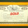 Framed 1969 Peel-Elder Limited $100 Stock Certificate.  13 x 9.  <b>$25</b>