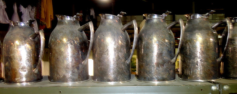 Vintage Hormel Vacuum Glass Lined Carafes (3402SAJ). 40oz capacity.  Stainless steel.  <b>$15 each.</b>