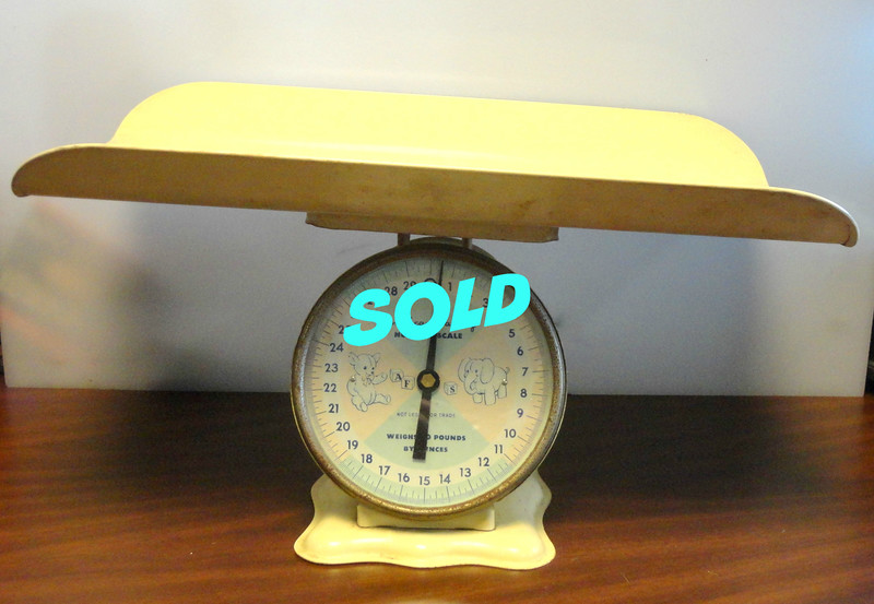 Rare Vintage American Family Nursery Baby Pink Blue Hospital Scale.  Works great.  Very good condition. <b>$75</b>