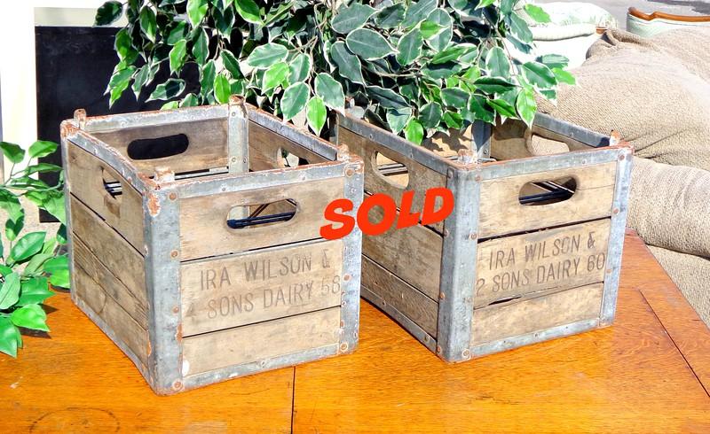 Vintage <i>Ira  Wilson Dairy</i> Milk Crates.  12 x 15 x 11 1/2.  <b>$30 each.</b>