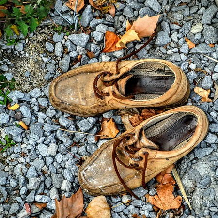 """""""On the Lookout for a Barefoot Man"""" """"Abandoned Shoes by the Lake"""" Bolsena, Italy"""