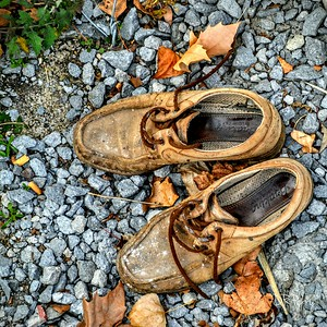 """On the Lookout for a Barefoot Man"" ""Abandoned Shoes by the Lake"" Bolsena, Italy"