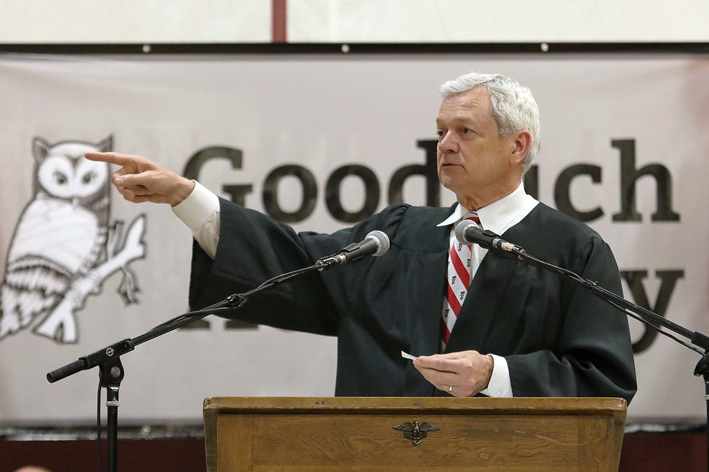 . Scenes from the Goodrich Academy Class of 2018 graduation on Thursday 31, 2018 at the Fitchburg High School field house. Superintendent Andre Ravenelle addresses the graduates during the ceremony. SENTINEL & ENTERPRISE/JOHN LOVE