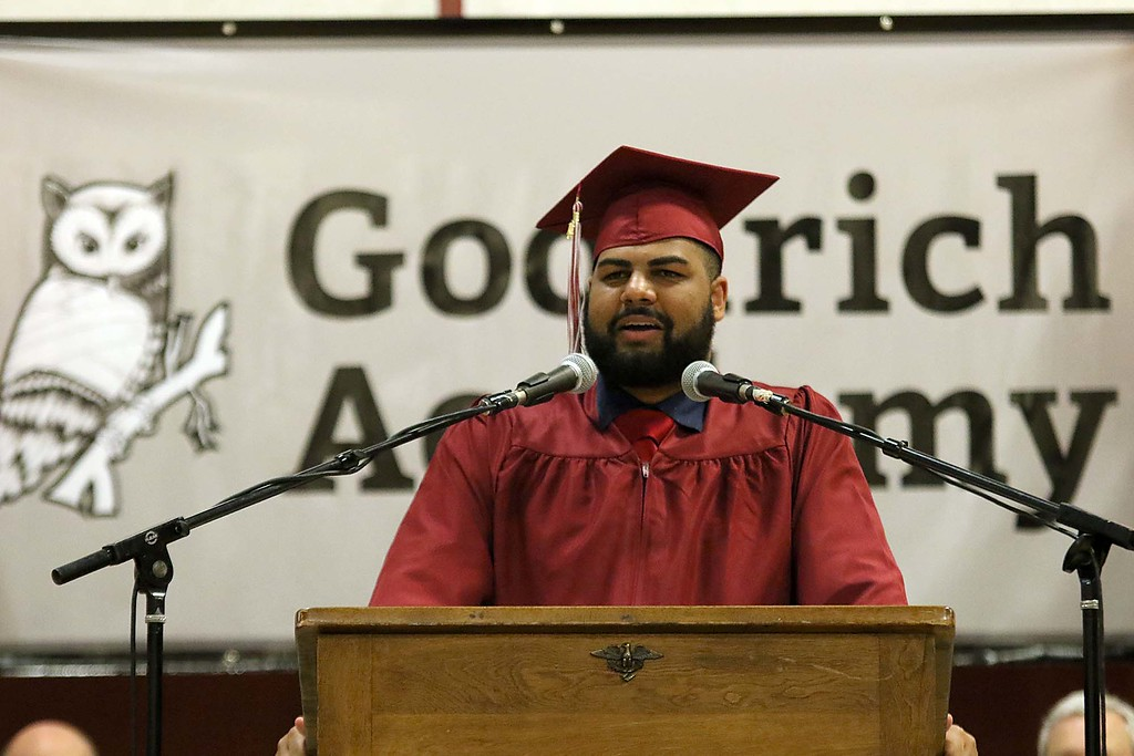 . Scenes from the Goodrich Academy Class of 2018 graduation on Thursday 31, 2018 at the Fitchburg High School field house. Student Angel Reveron was one of the student speakers at the ceremony. SENTINEL & ENTERPRISE/JOHN LOVE