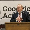 Scenes from the Goodrich Academy Class of 2018 graduation on Thursday 31, 2018 at the Fitchburg High School field house. Fitchburg School Committee member Peter Stephens addresses the graduates during the ceremony. SENTINEL & ENTERPRISE/JOHN LOVE
