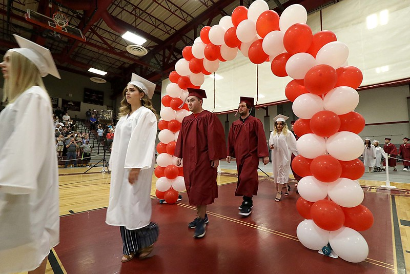 Scenes from the Goodrich Academy Class of 2018 graduation on Thursday 31, 2018 at the Fitchburg High School field house. Graduates enter the field house at the start of the graduation. SENTINEL & ENTERPRISE/JOHN LOVE
